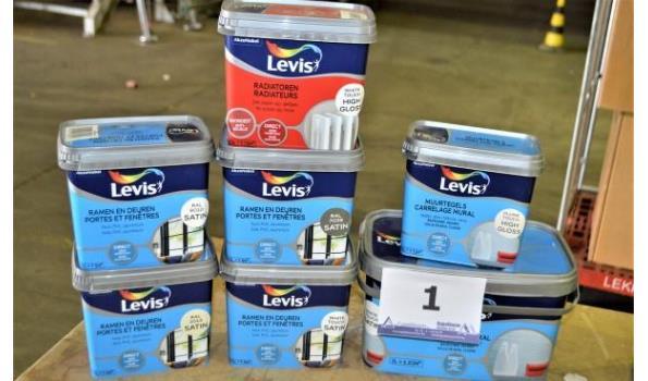 8 potten verf LEVIS voor ramen/deuren, radiatoren enz