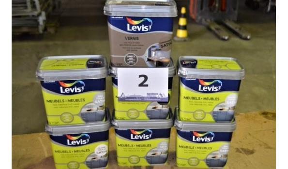7 potten verf LEVIS voor meubelen en vernis