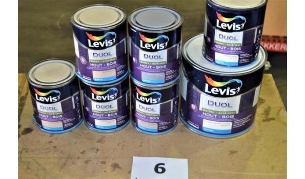 7 potten verf LEVIS DUOL voor hout