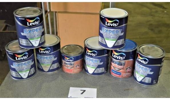 8 potten verf LEVIS Expert voor muren en hout