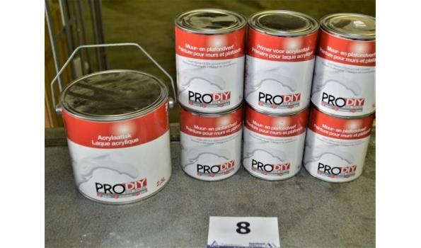 7 potten verf PRODIY acrylaatlak, primer en plafondverf