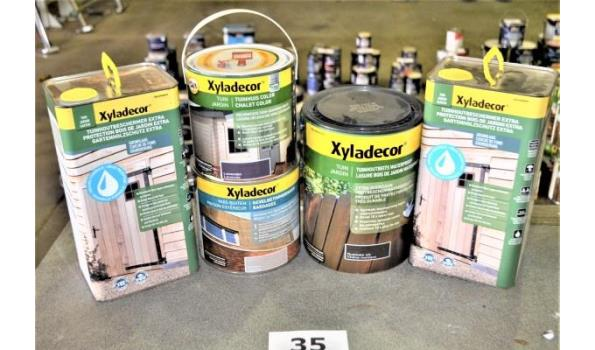 5 potten diverse producten XYLADECOR