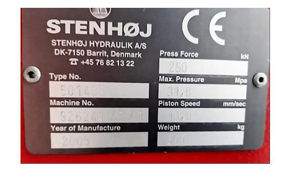 hydraulische drukpers STENHOJ type 501408, cap 250Kn