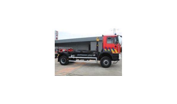 containervrachtwagen MAN 19.364 FAC 4x4, diesel, 11960cm³, 326kW, 1e inschr 07/06/2001, chassisnr WMAT34ZZZ1M308225,  plm 32.818km,  CO²-uitstoot ng, EURO2, compl met  1sleutel, kentekenbewijs DEEL I+II,  gelijkvormigheidsattest, keuring tot 28/02/21