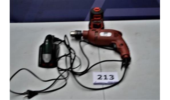 boormachine FAIRLINE en BOSCH plus laser BLACK&DECKER