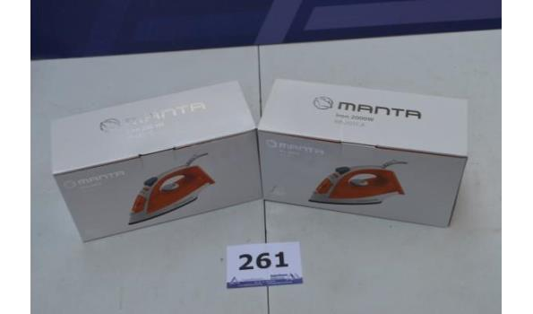 2 strijkijzers MANTA, 2000w