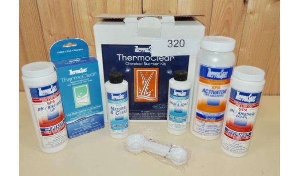 Starter kit voor spa's fabr. Thermospas type thermoclear. Inhoud: Thermoclear ,natural en clear , stain en scale, spa aktivator , alkalinity Up , alkalinity Down en maatlepels