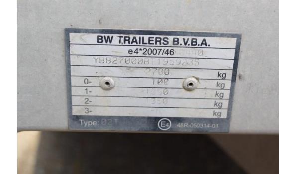 2-assige aanhangwagen BW TRAILERS Q2T 2700BV, 1e inschr 17/06/2019, chassisnr YB827000BT1959235, MTM 2700kg, Tarra 674kg, compl met kentekenbewijs DEEL I+II, gelijkvormigheidsattest, 1sleutel, keuring tot 20/6/21