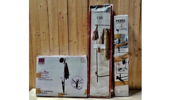 Kapstok v.v. natuurstenenvoet en parapluhouder Kleur wit + Verrijdbaar kledingrek + Robuust kledingrek. Licht beschadigd