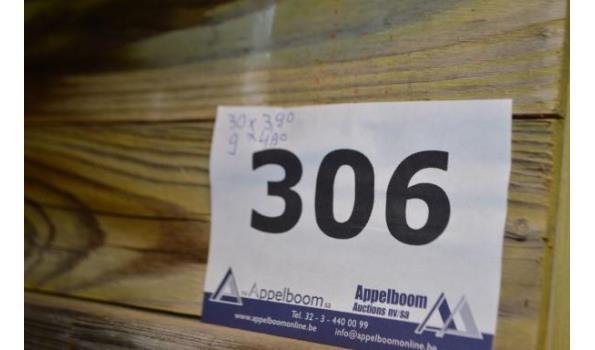 stalen bok inhoudende 39 bekistingsbalken DOKA H20, 30x 3,90m, 9x4,90m