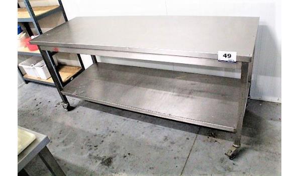 verrijdbare rvs werktafel 200x70x90