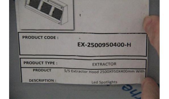 nieuwe dampkap 2500x950x400 compleet met motor