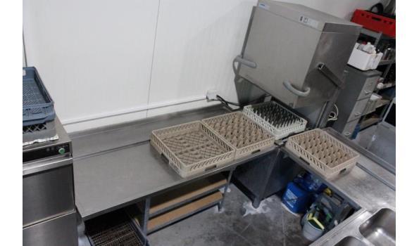 complete rvs afwaslijn bestaande uit doorschuifvaatwasser WINTERHALTER GS515, 2-voudige spoelbak enz