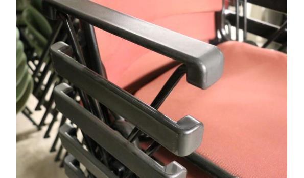 7 stapelbare stoelen, stof bekleed