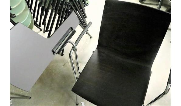 4 design stapelstoelen, WIESNER-HAGER, type Update, vv houten zitting en opklapbaar schrijftablet