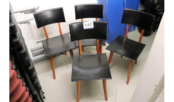 4 design stoelen, ZANOTTA, zwarte skai bekleed