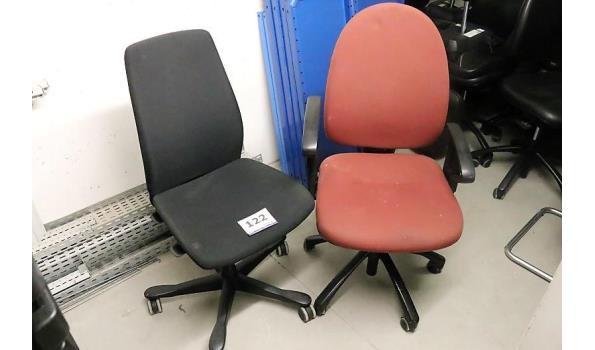 2 div verr bureaustoelen, stof bekleed