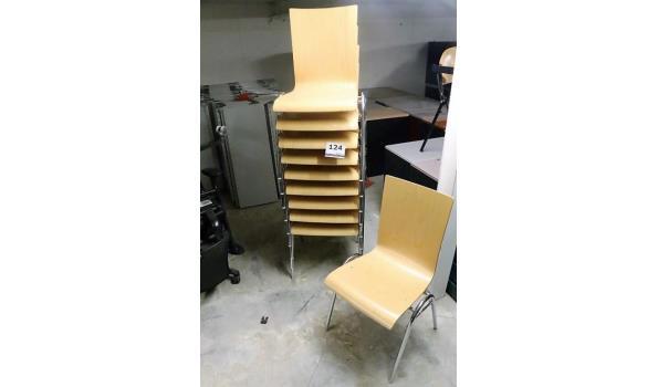 10 stapelbare design stoelen, houten zitting