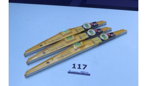 3 nieuwe torpedowaterpassen STABILA  l 50cm, type 81s