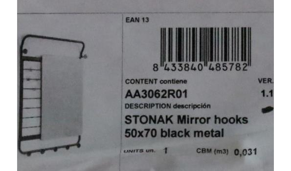 wandspiegel/kapstok, afm plm 50x70cm