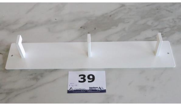 witte wandkapstok voor 3 jassen, afm plm 50x10x7cm