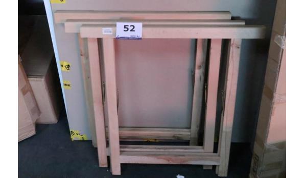 3 houten schragen, h 120cm 75x75cm