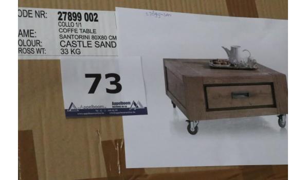 verr vierkante houten salontafel, afm plm 80x80cm