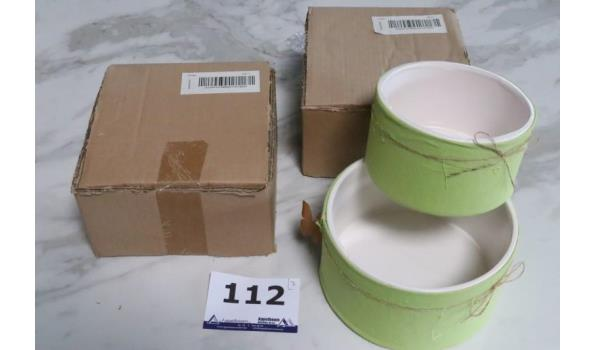 3 sets van 2 decoratieve potten, diam plm 20 en 16cm