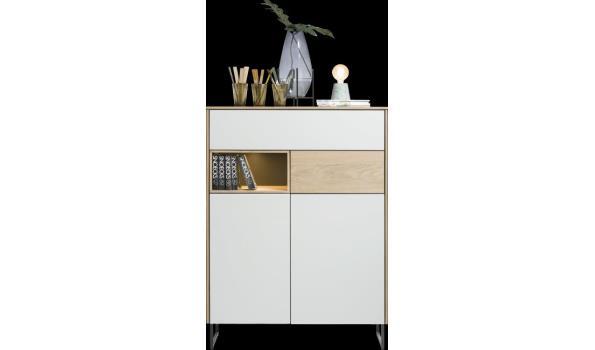 design commode, vv 2 deuren en 2 laden, afmokl 100x42x135cm