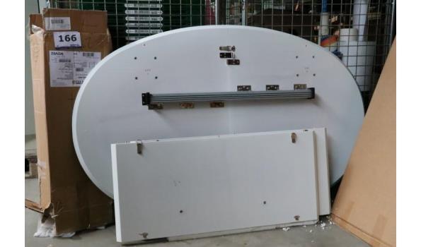 design verlengbare ovalen eetkamertafel, afm plm 140-220x90cm