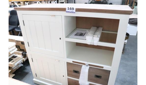 houten wandkast vv 2 deuren en 4 laden