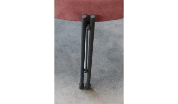 design ronde poef, rode stof bekleed, diam plm 62cm