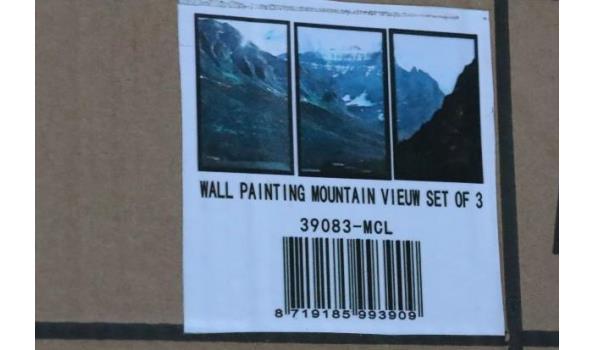 3-delige wandkader, voorstellende bergen