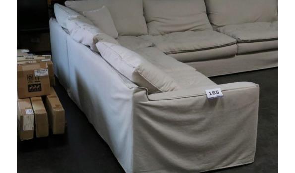hoekzitbank, beige stof bekleed, afm plm 280x310cm