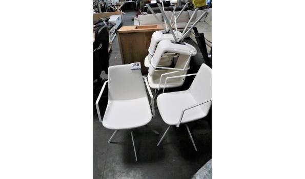 6 design eetkamerstoelen, witte skai bekleed