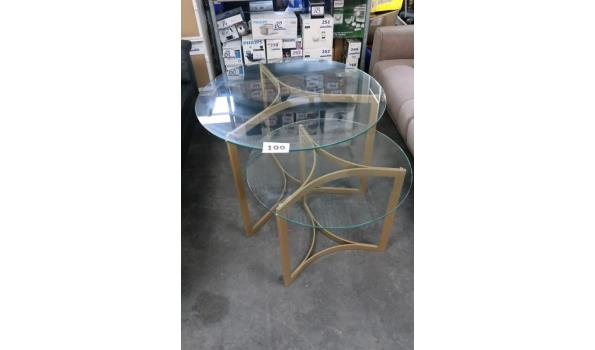 2 design ronde div tafels vv glazen blad, afm plm diam 90 en 71cm