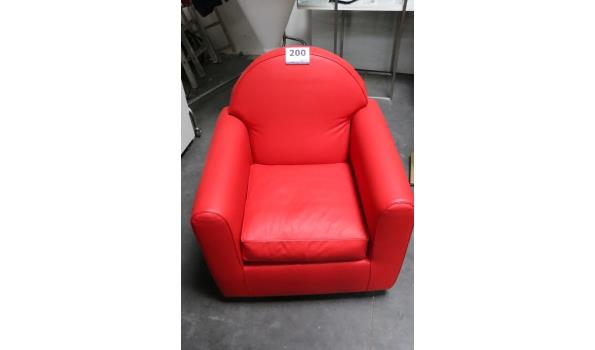 design fauteuil, rode skai bekleed