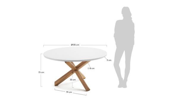 ronde design eetkamertafel, diam plm 135cm