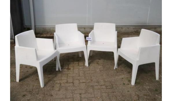 4 design witte stapelbare pvc tuinstoelen