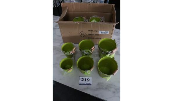 3 sets à 12 sets bloempotjes in div maten, groen