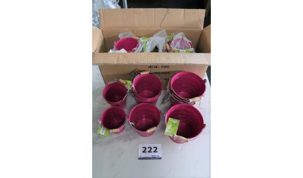3 sets à 12 sets bloempotjes in div maten, paars