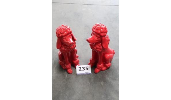 2 decoratieve voorwerpen, voorstellende hond
