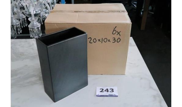 6 rechthoekige vazen, afm plm 20x10x30cm