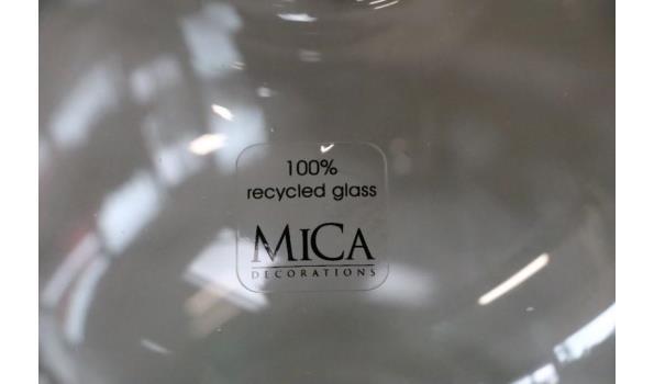 4 decoratieve glazen vazen, diam plm 20cm