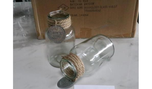 32 glazen waxhouders, diam plm 8,5cm