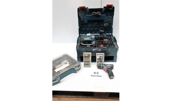 accu laser BOSCH GGL3-80C in koffer plus accu schroefmachine BOSCH GSR 12V-15 met toebehoren