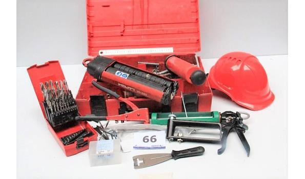 lot diversen wo doosje met boren, veiligheidshelm, spuitpistool HILIT MD2500