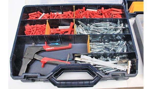 lot div pvc materiaalkoffertjes met inhoud wo montagematerialen