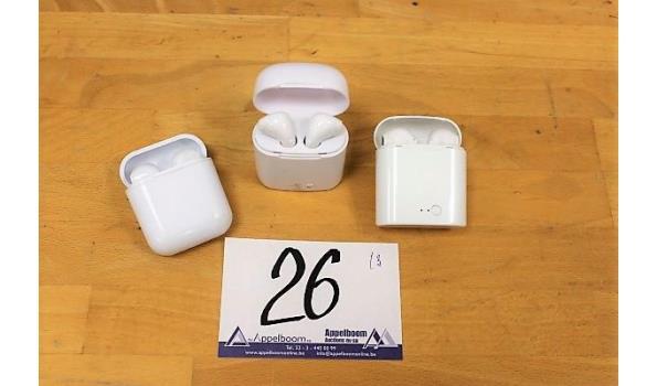 3 diverse wireless oordopjes met opbergcase, zonder kabels, werking niet gekend