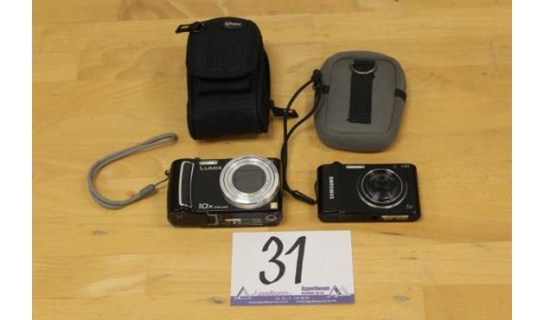 2 div digitale cameras, wo PANASONIC, zonder kabels, met opbergtasje en batterij, werking niet gekend